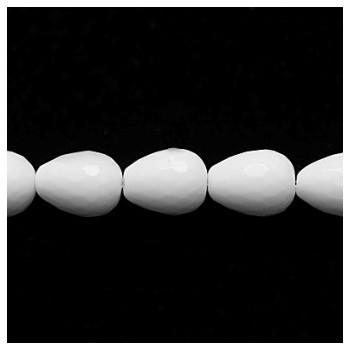 Dråbe perle facet agat hvid  16 mm  - 2 stk