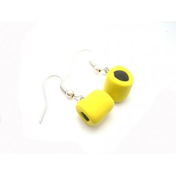 Lakridskonfekt øreringe gul  / sort