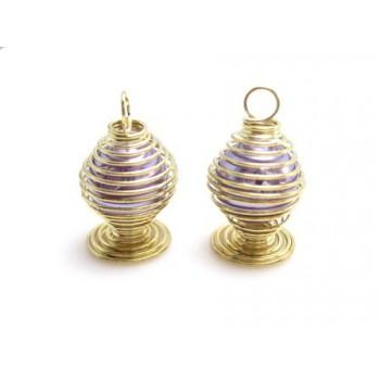 Perle i bur - lilla - 2 stk