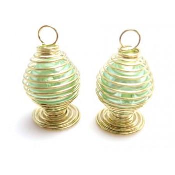 Perle i bur - grøn - 2 stk