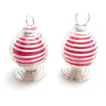 Perle i bur - mørk pink /...