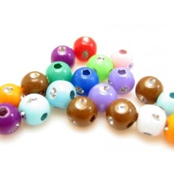 Blandede perler med sølv 5 mm  - 20 stk