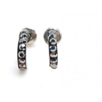 Hotte sorte øre ringe med stene - 1 par