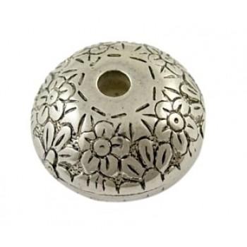 Flotte sølv akryl perler med blomst 16  / 2,5 mm - 3 stk