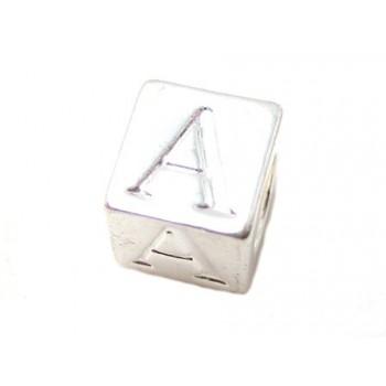 Bogstav  7,5  x 7,5 / 4,5 mm - sølv  belagt - A