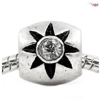 Antik sølv led  / Charms med sten 12 / 5,3 mm