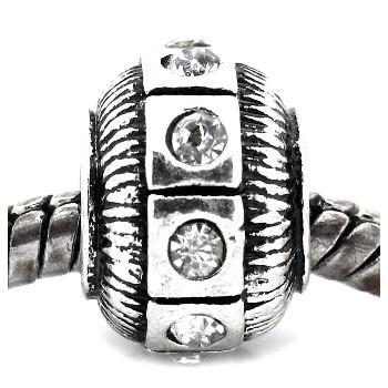 Antik sølv led / Charms med sten 11 / 5 mm