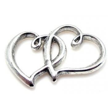 Tvilling Hjerte i sølv 33 x...