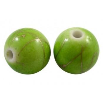Guld streg og æblegrøn 10 mm  - 10 STK