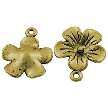 Blomst vedhæng guld 24 mm / 2 - 2 stk
