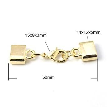 Låsesæt med enderør guld indvendigt hul 10 x 2,8
