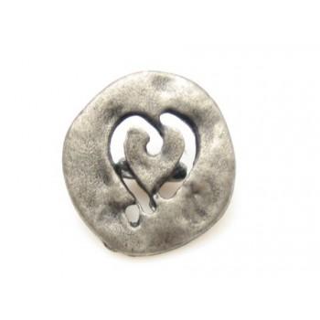 Hjerteknap skåret i metal 15 mm