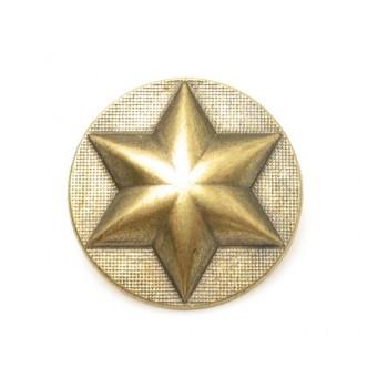 Militær stjerne knap antik guld 20 mm