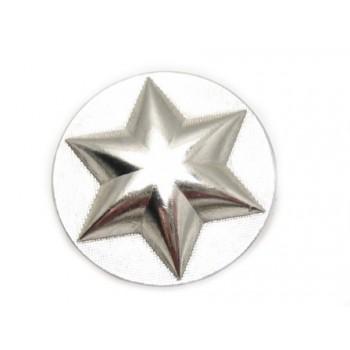 Militær stjerne knap sølv 25 mm