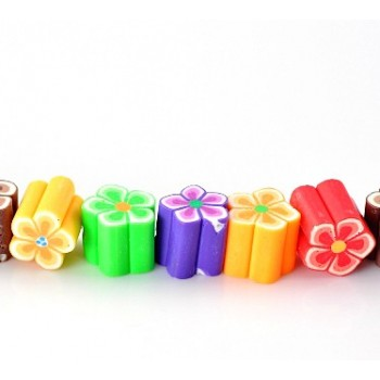 lER / Fimo Blomster mix. 12 X 11 mm - 38 stk - 1 STRENG