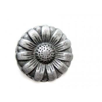 Blomst / Margurit knap sort 17  / 3,4 mm