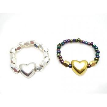 Valentins ring med perler og hjerte