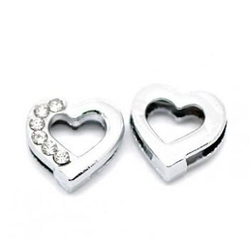 Slide hjerte med stene 13 / 9 mm
