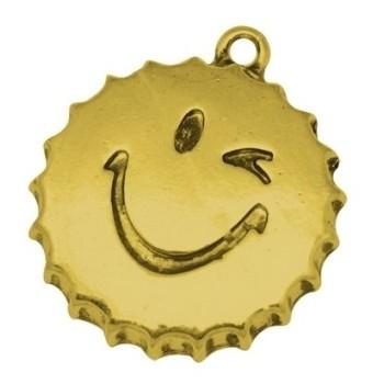 Kapsel smiley guld 27 mm  - GRATIS - MAX 10 STK