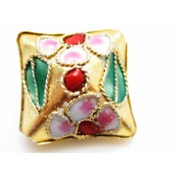Cloisonne firkanter 15 mm guld