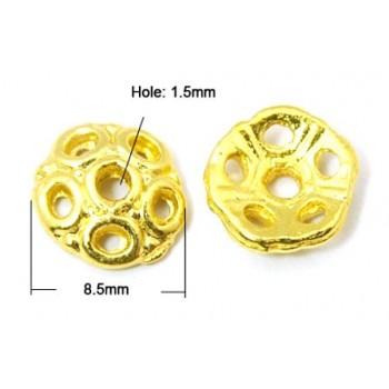 Perleskål guld 8 / 2 mm - 14 stk
