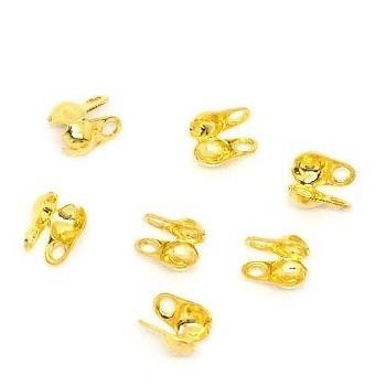 Endestykke Knudeskjuler til kuglekæde eller wire op fra 2,5 mm guld- 10 stk