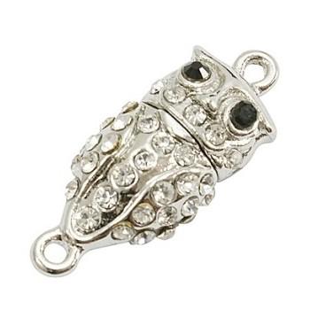 Ugle magnet lås sølv med stene 32 mm