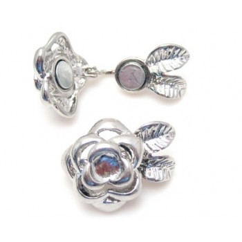 Klaplås / halelås sølv med rose 23 mm