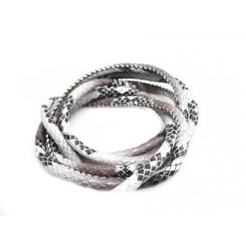 Randsyet / kantsyet IMIT slange sort / grå 4 mm - 1 m - SUPERTILBUD