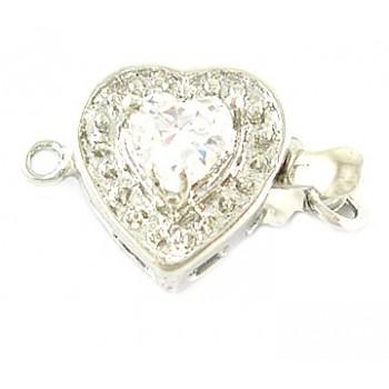 Hjerte lås box - 17 mm  med sten