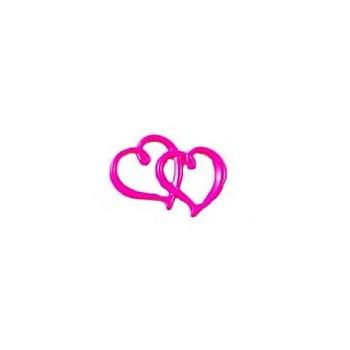 Tvilling Hjerte NEON PINK 33 x 23 mm