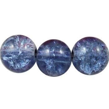 Krakeleret perle 8 mm blå -...