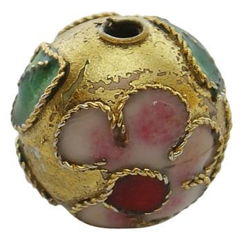 Cloisonne rund 12 mm guld - 2 stk