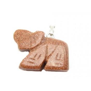 Elefant halv ædelsten 23 mm - BRUN MED NISTER