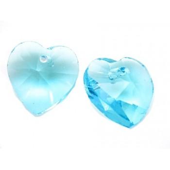 Glas facceteret hjerte turkis 11 mm - 2 stk