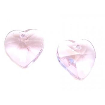 Glas facceteret hjerte rosa...