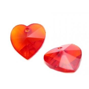 Glas facceteret hjerte rød...