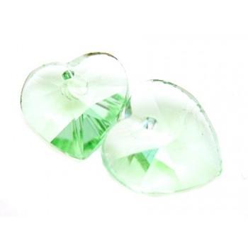 Glas facceteret hjerte grøn11 mm - 2 stk
