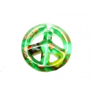 Glas peace tegn grøn / guld...