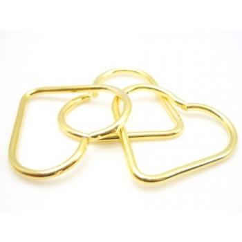 Hjerte ring gylden 30 mm - 10 stk