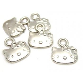 Hello Kitty vedæng sølv - 5 stk