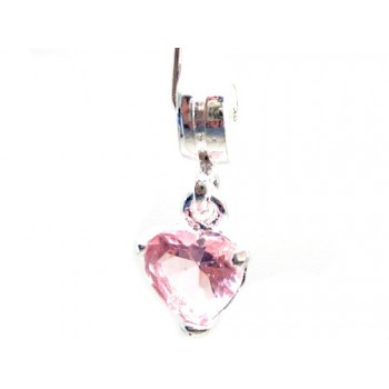 Krystal hjerte vedhæng rosa