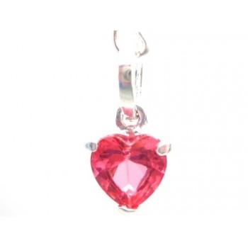 Krystal hjerte vedhæng pink