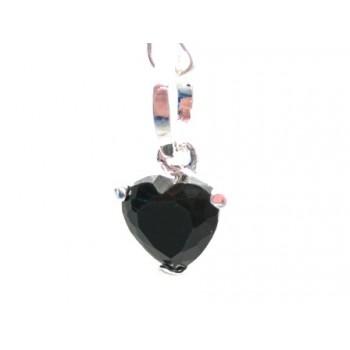 Krystal hjerte vedhæng sort