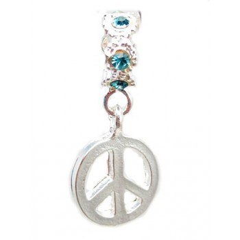 Peace tegn med turkis stene 28 mm