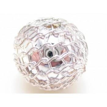 Sølv net perle 9 mm - 4 stk