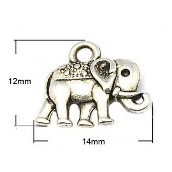 Elefant 14 mm sølv - 2 STK