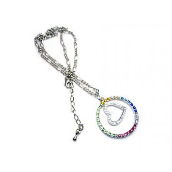 Peace halskæde med stene 36 mm kæde 50 cm  +