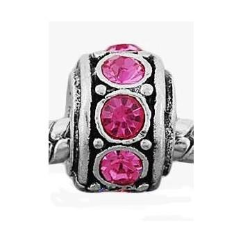 Antik sølv med pink stene