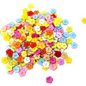 Blomster knap i farvemix 22 / 2 mm - 10 stk